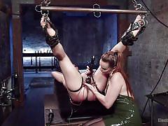 high heels, lesbian domination, dildo, vibrator, tied up, bondage device, ball gag, electrodes, electro bdsm, electro sluts, kink, angel allwood, bella rossi