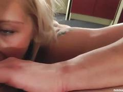 cumshot, facial, blonde, blowjob, homemade, ball-licking, small-tits