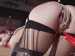 Mouth gagged redhead slut gets tied up