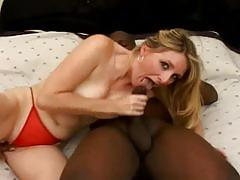 Blonde milf enjoys big black dick