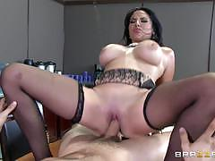 missy martinez, riding, big tits, doggystyle, cumshot, facial, office, table, stockings, fingering, cowgirl, suspenders
