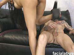 Big titted asian slut rides big stick