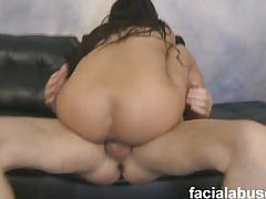 Big titted asian slut rides big stick