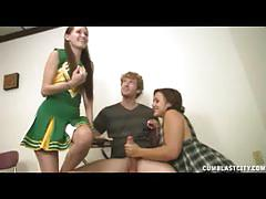 Two teens jerk off well hung redhead dude