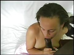 Amateur brunette gets banged by a black stud
