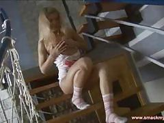 Horny blonde teen poses and provokes you