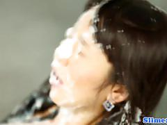 Asian chick marcia hase gets a shower of cum
