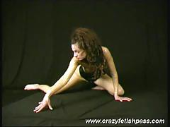 Brown haired lady is flexible !