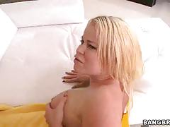 Blonde letting him worship her ass while fucking