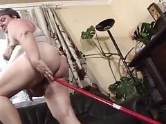 Greasy pussy fat granny riding fresh stiff boner