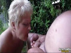 Mature blonde suck and clean her old man's cock