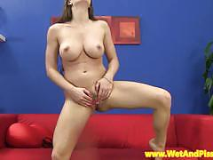 Perverse brunette strips and pisses on the floor