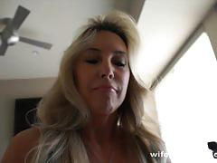 Super busty wife pleasuring cock