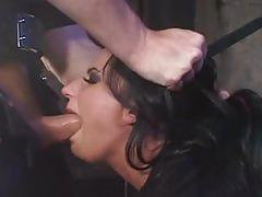 Milf brunette with fishnets gets bdsm on stairs