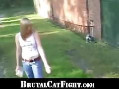 Girls catfight turns into a blowjob outdoors