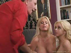 Brooke hunter and kelly wells share a hard cock
