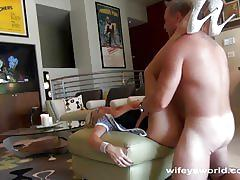 Busty blonde wife gets a pounding