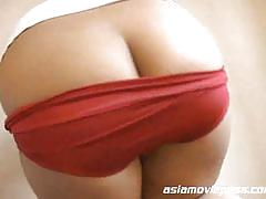 Asian slut takes off her undies