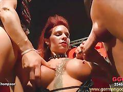 Busty big ass german slut gets a hard anal fuck.