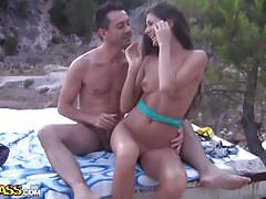 Lovely brunette agnessa fucking beside the beach