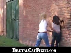 Blonde and brunette sluts share hard cock outdoors