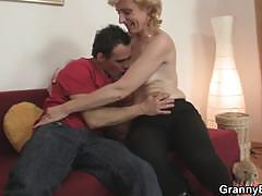 Mature blonde gets pounded by a young stud