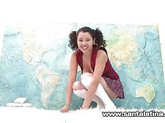 Hot naughty latina masturbating while taking geography test