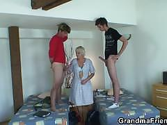 Old maid has a threesome with two young customers