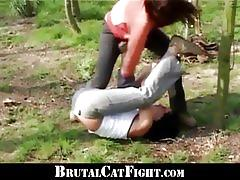 Two nasty brunettes get pounded hard outdoors
