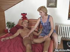 Mature slut sucks and rides a hard rod of meat