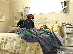Ebony lesbians playing in bed
