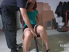 Sexy redhead slave gets bound and tortured