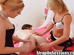 Candi apple and ms. carly strapon fuck with aaron