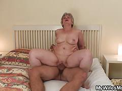 Mature slut sucks and rides a young stud's cock