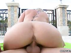 Sara jay, spicy j & sarah fuck in the garden