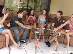 Strip poker in a company of 4 hot chicks