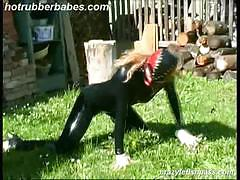 Kinky blonde slut in latex outdoors