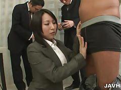 Japanese girl uses a fleshlight on a dude
