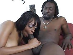 Ebony slut with big tits gets drilled