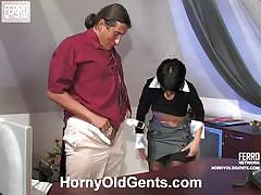 Sexy brunette in stockings get banged hard