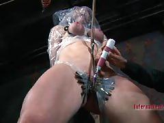 big tits, busty, babe, bdsm, bondage, toys, vibrator, big boobs, beauty, torture, fake tits, dungeon, red head, painful
