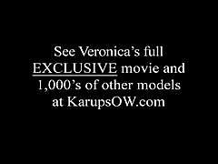 Veronica juices her massive tits and cunt