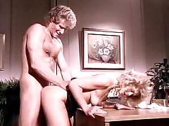 Vintage blonde slut gets banged at the office