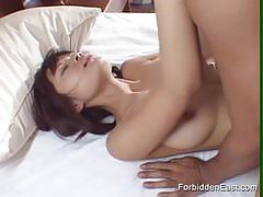 Hairy asian brunette gets banged deep and hard