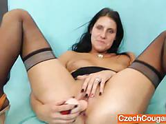 Czech wife ruby drilling her cunt with huge toy