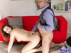Classy british babe gets fucked by an old dude