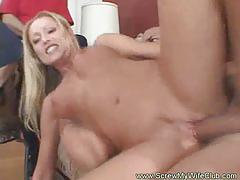 Blonde gets banged and creamed in front of her man