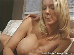 Big tits blondie gives incredible handjob