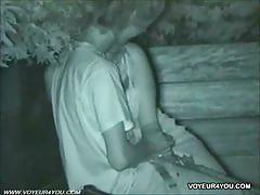 Asian couple having sex outdooors caught on spycam