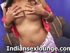 Topless indian blowing a hard white cock